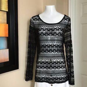 Alfani All Lace Sheer Shirt Size XL